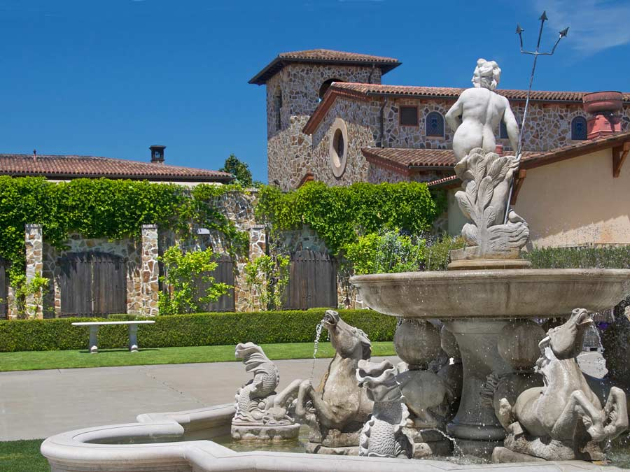 A fountain in front of 	Jacuzzi Family Vineyards, Sonoma