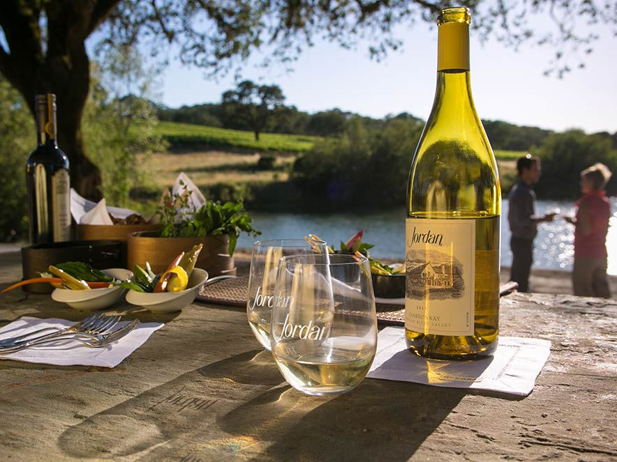 Food and wine pairings at scenic Jordan Vineyard & Winery