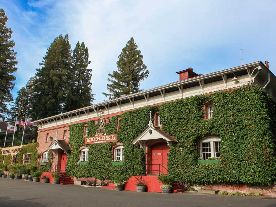 The ivy covered exterior of Korbel Champagne Cellars in Sonoma County