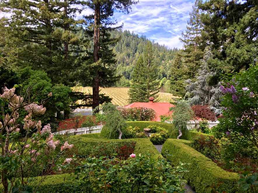 Stroll the gorgeous gardens with Mom at Korbel Winery