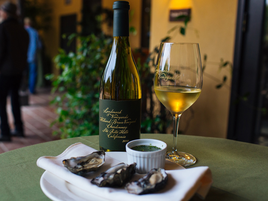 wine glass and oysters at Landmark Vineyards in Sonoma County