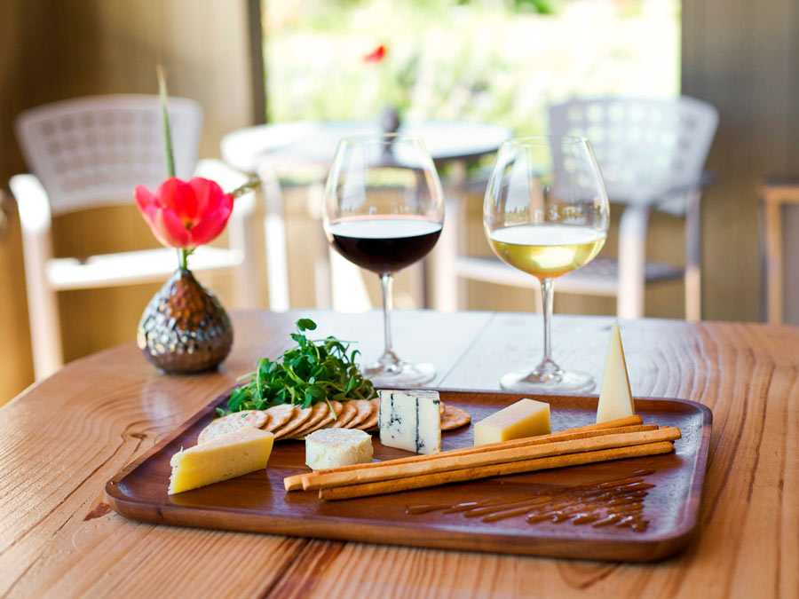 Cheese, bread, and wine ready to be enjoyed at Lynmar Estate, Sebastopol