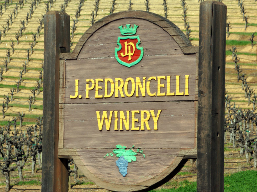 sign at Pedroncelli Winery in Sonoma County