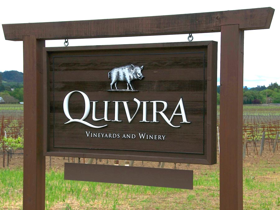 An image of a boar adorns the sign at the entrance to Quivira Vineyards & Winery, Healdsburg