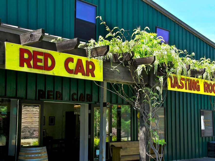 exterior of Red Car winery tasting room in Sonoma County