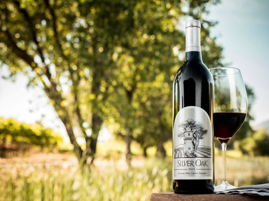 Picture of Silver Oak Winery bottle and glass of wine