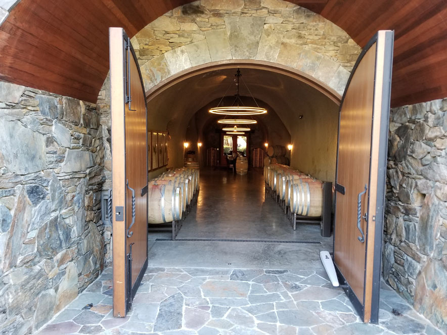 wine cave at Thomas George Estates in Sonoma County