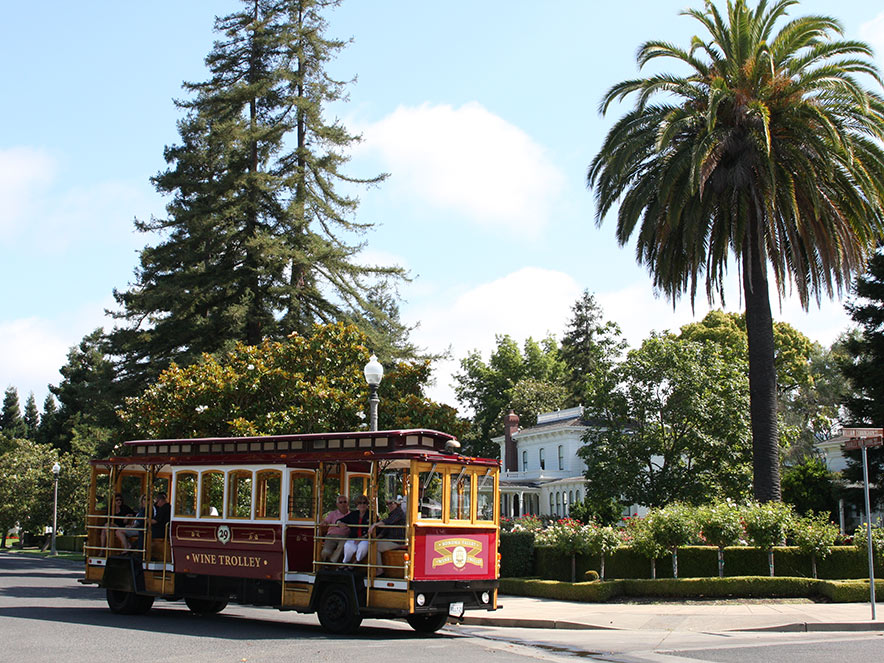 The red and gold painted wine trolley drives past palm trees in Sonoma, California