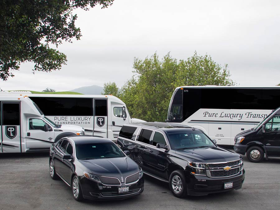 A fleet of different vehicles for hire with Pure Luxury Transportation, Sonoma County