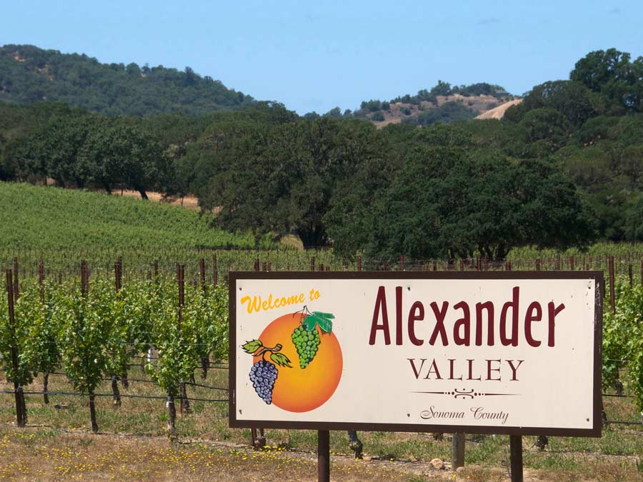 A sign welcomes guests to Alexander Valley AVA, Sonoma County