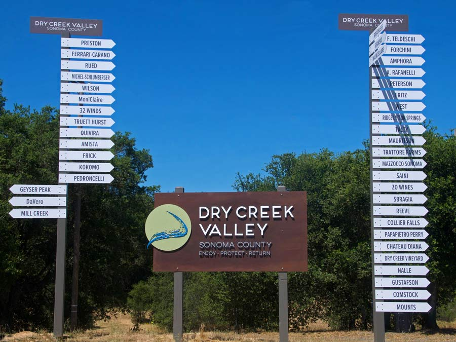Signs for many wineries in the Dry Creek Valley AVA, Sonoma County