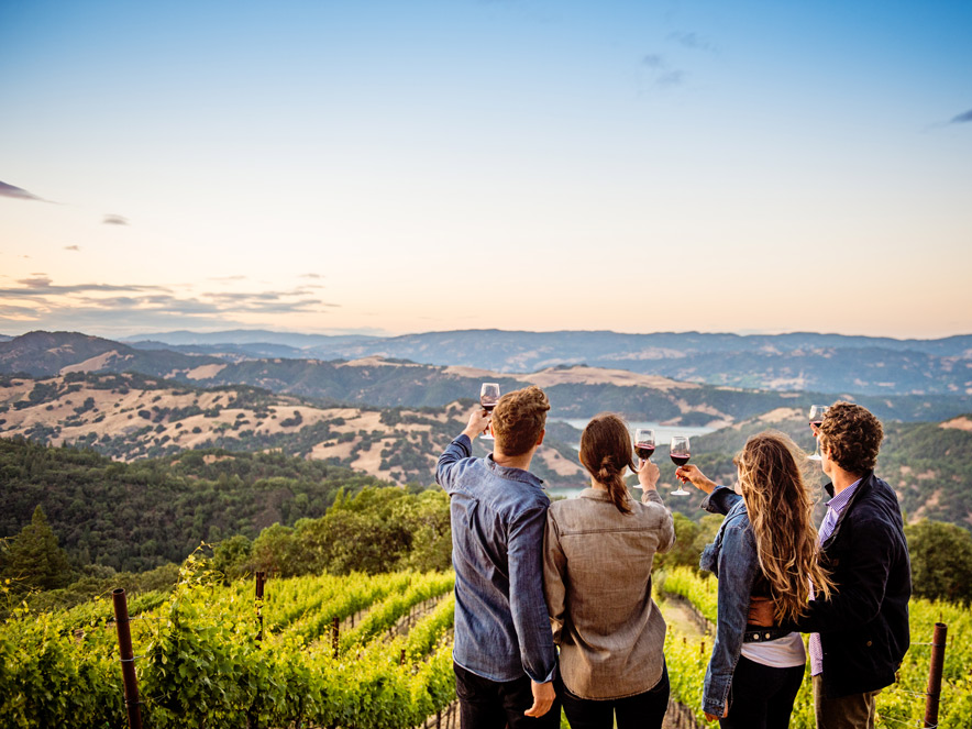 Group of people in Sonoma County drinking wine while overlooking the Dry Creek Valley AVA