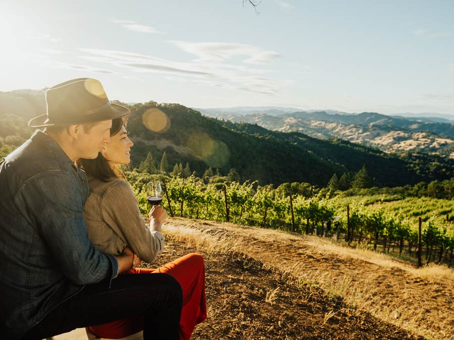 A couple overlooks vineyards in Dry Creek Valley AVA, Sonoma County