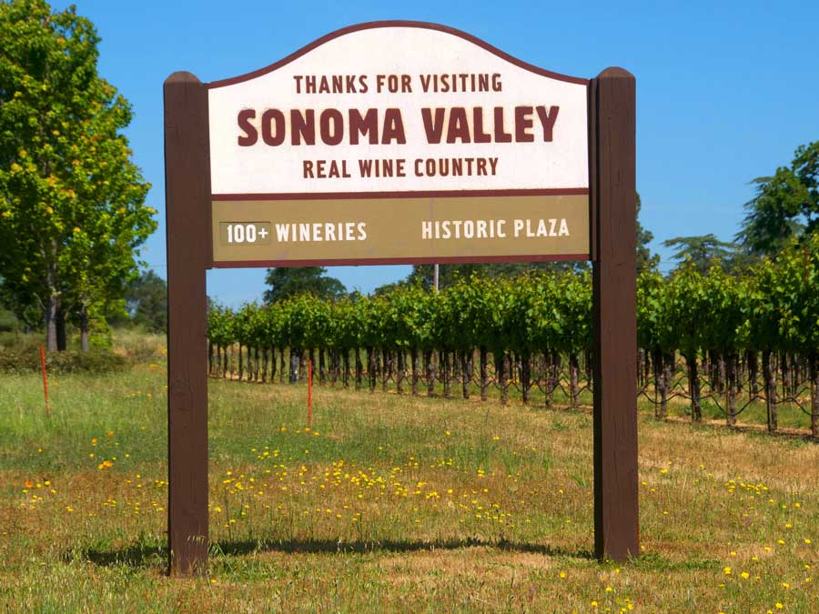 A sign thanks guests for coming to Sonoma Valley AVA, Sonoma County
