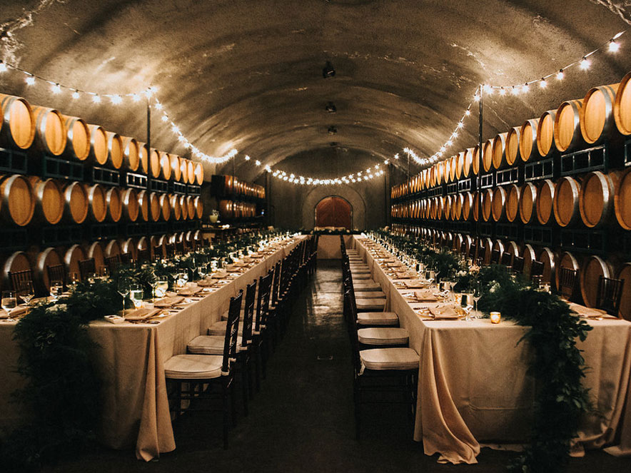 wedding tables and chairs setup in Gloria Ferrer Caves and Vineyards in Sonoma County