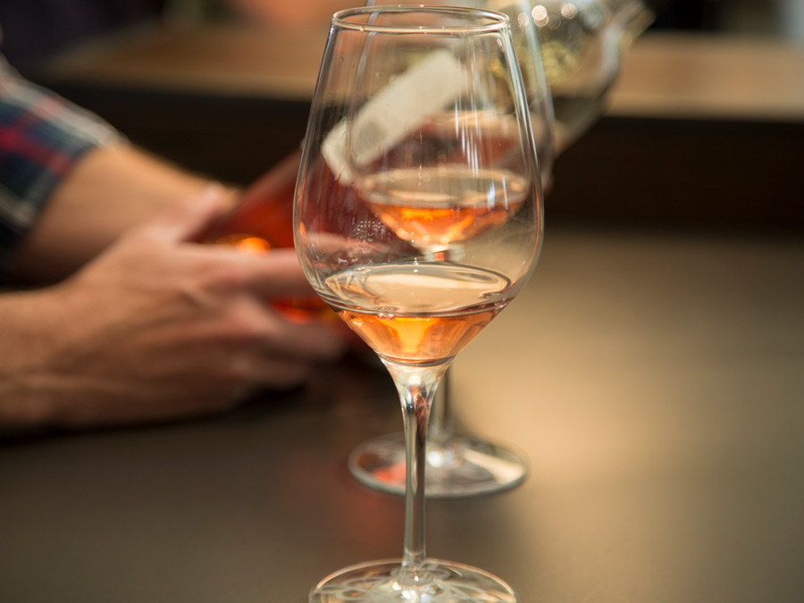 A glass of freshly poured rosé in Sonoma County