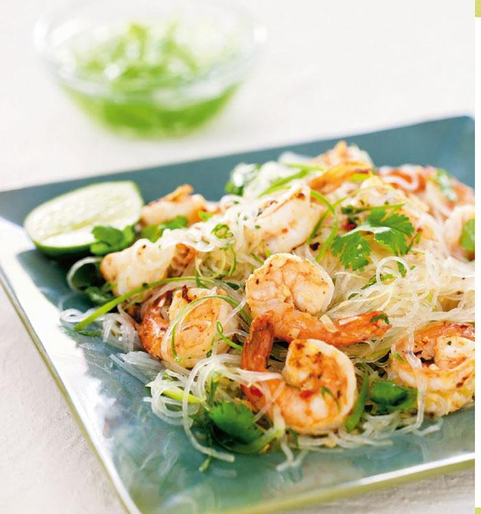 Lemongrass Tiger Prawns and Thai Noodle Salad recipe from Chris Hanna of Hanna Vineyards Sonom County, California
