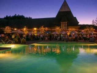 The pool and wine event outside of Coppola Winery