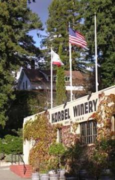 Front view of the historic Korbel Winery