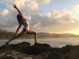 Yoga on the beach in Healdsburg, Sonoma County, California