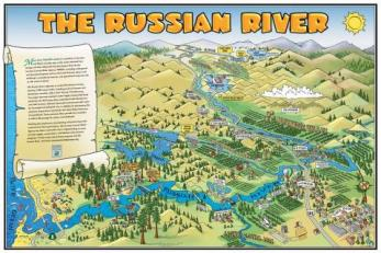 Russian River Cartoon Poster, Sonoma County