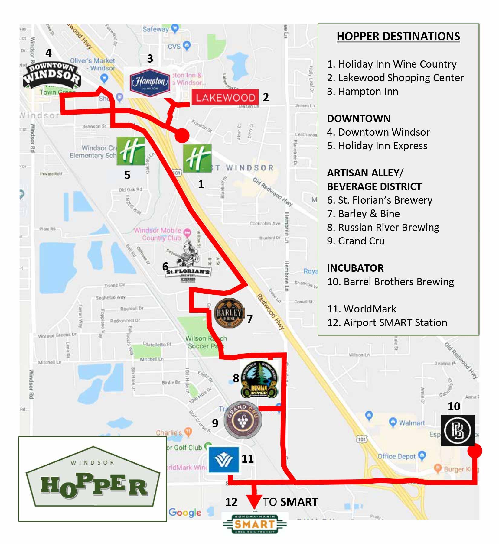 Windsor Hopper Shuttle Map