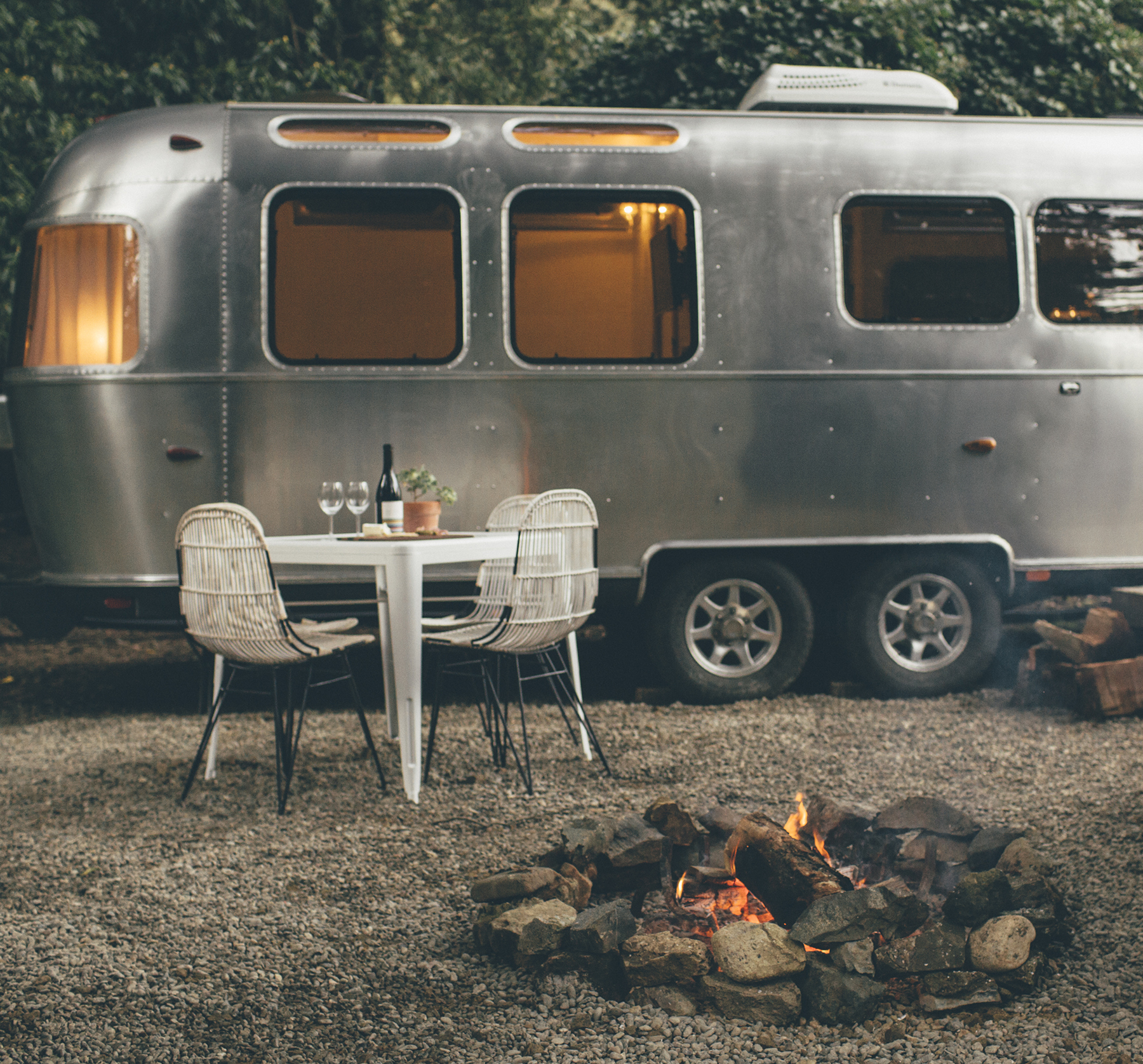 An airstream trailer is surrounded by redwoods at AutoCamp Russian River, Guerneville