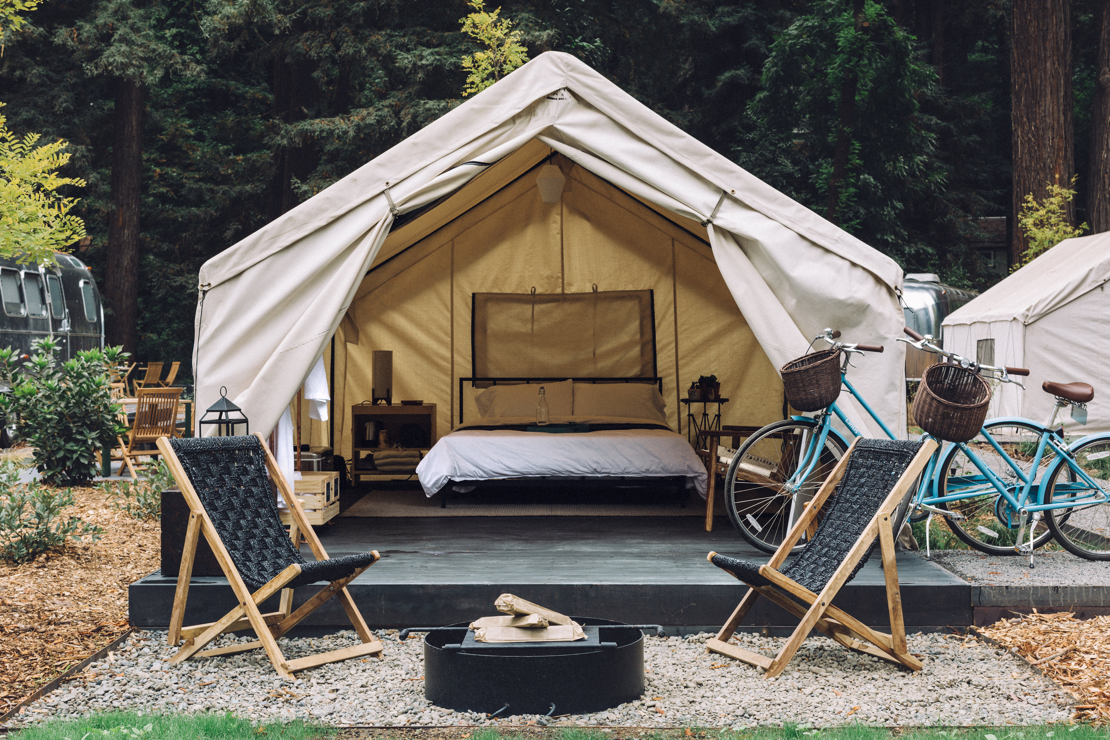 Go glamping in the redwoods of the Russian River at Autocamp in Guerneville, Sonoma County, California