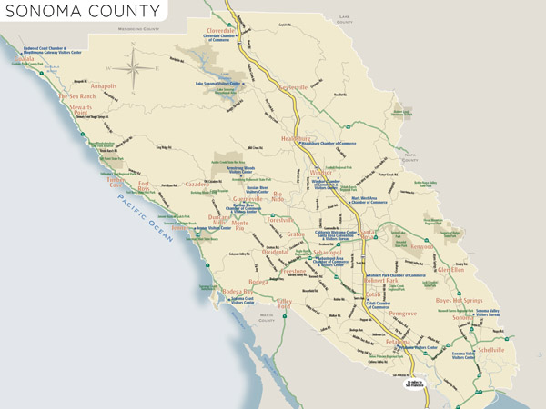 Sonoma Valley California Map.Map Of Sonoma County With Wineries Sonomacounty Com