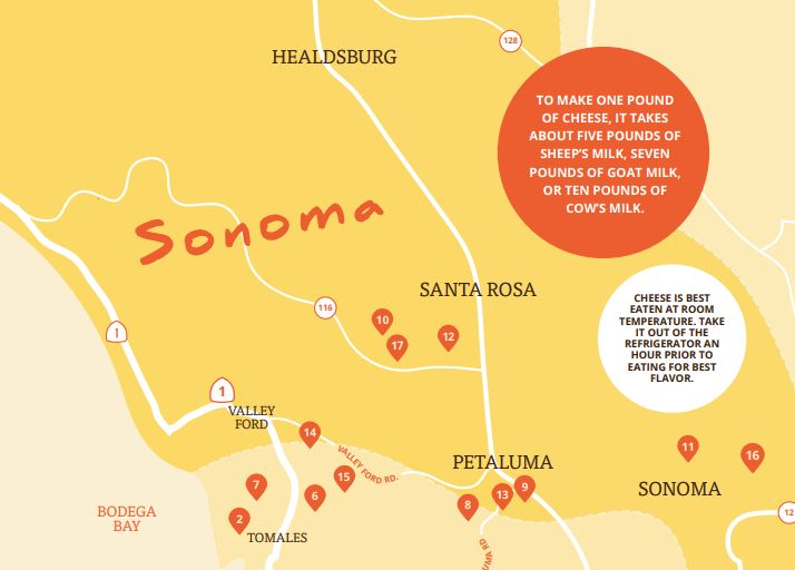 Sonoma County Cheese Trail Map