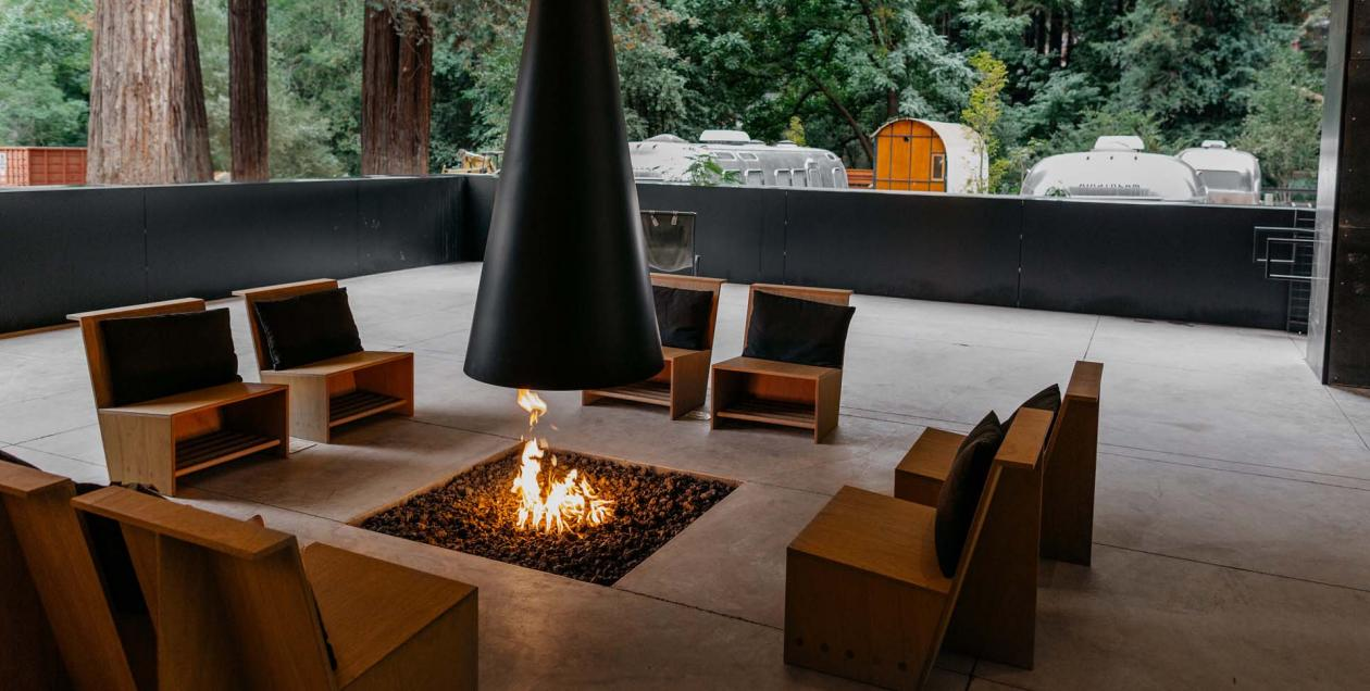 Image of glamorous firepit at AutoCamp Russian River, Sonoma County