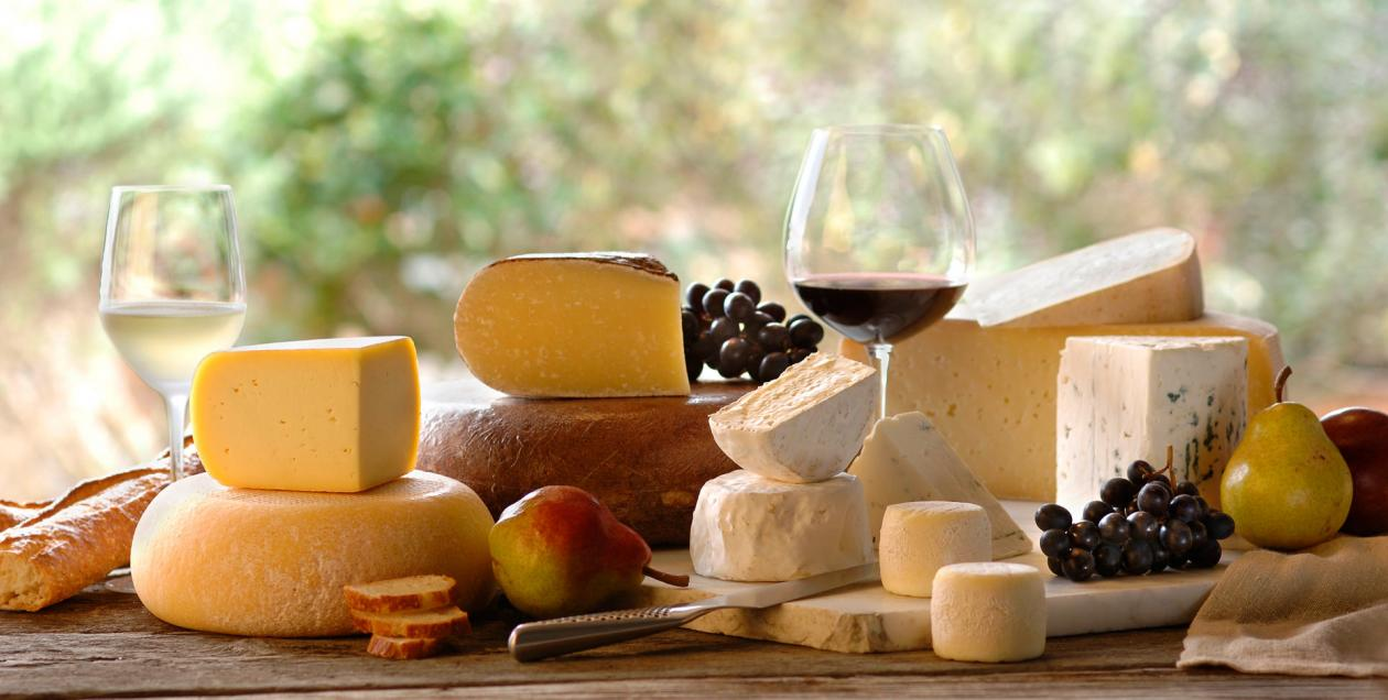 An attractive spread of cheese and wine in Sonoma County