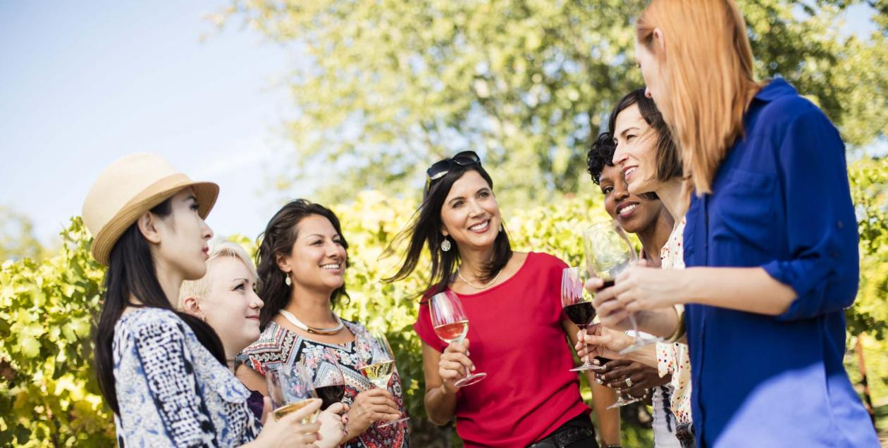 5 women in vineyard in Sonoma County
