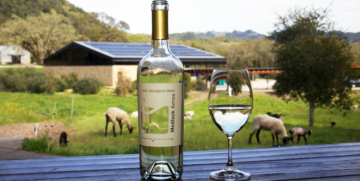 A bottle and glass of Medlock Ames.
