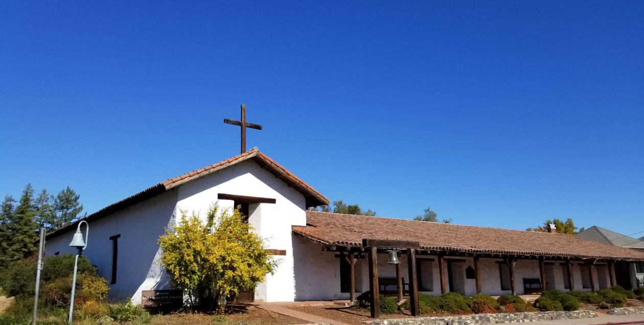 The Sonoma Mission on a brigth, blue day in Sonoma County