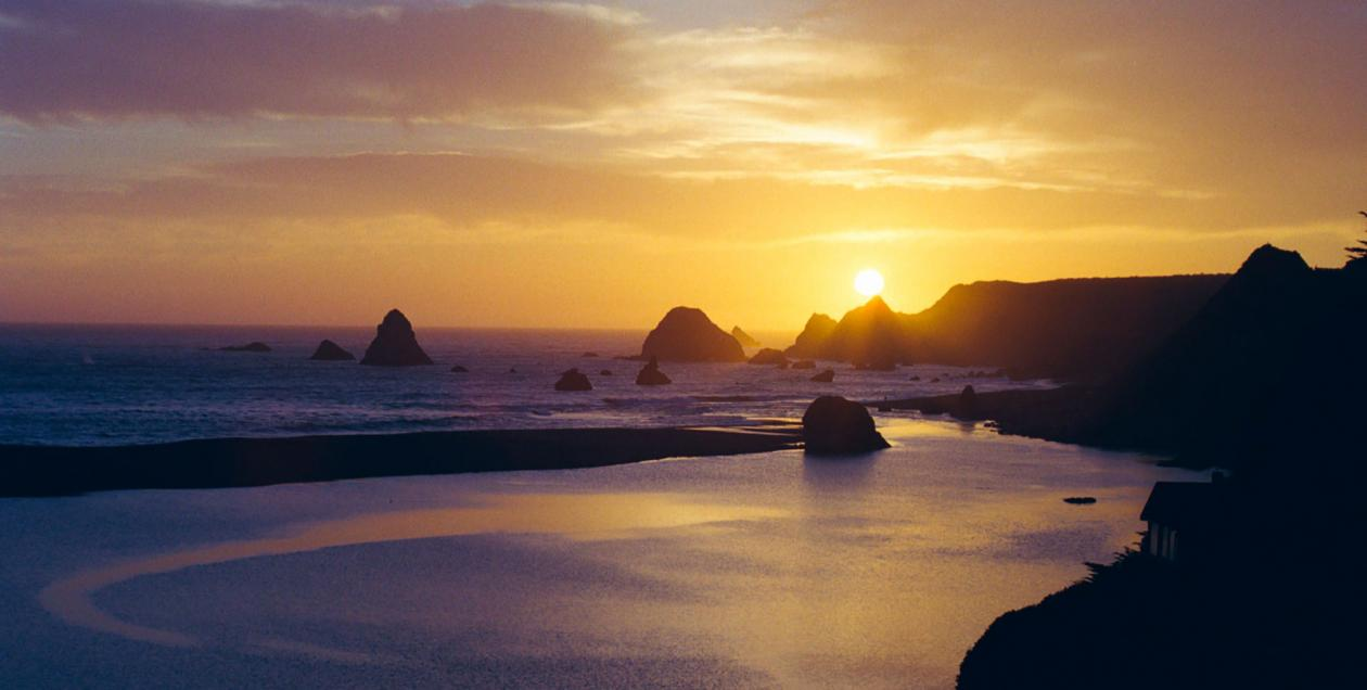 Sunset over Jenner-by-the-Sea on the Sonoma County Coast