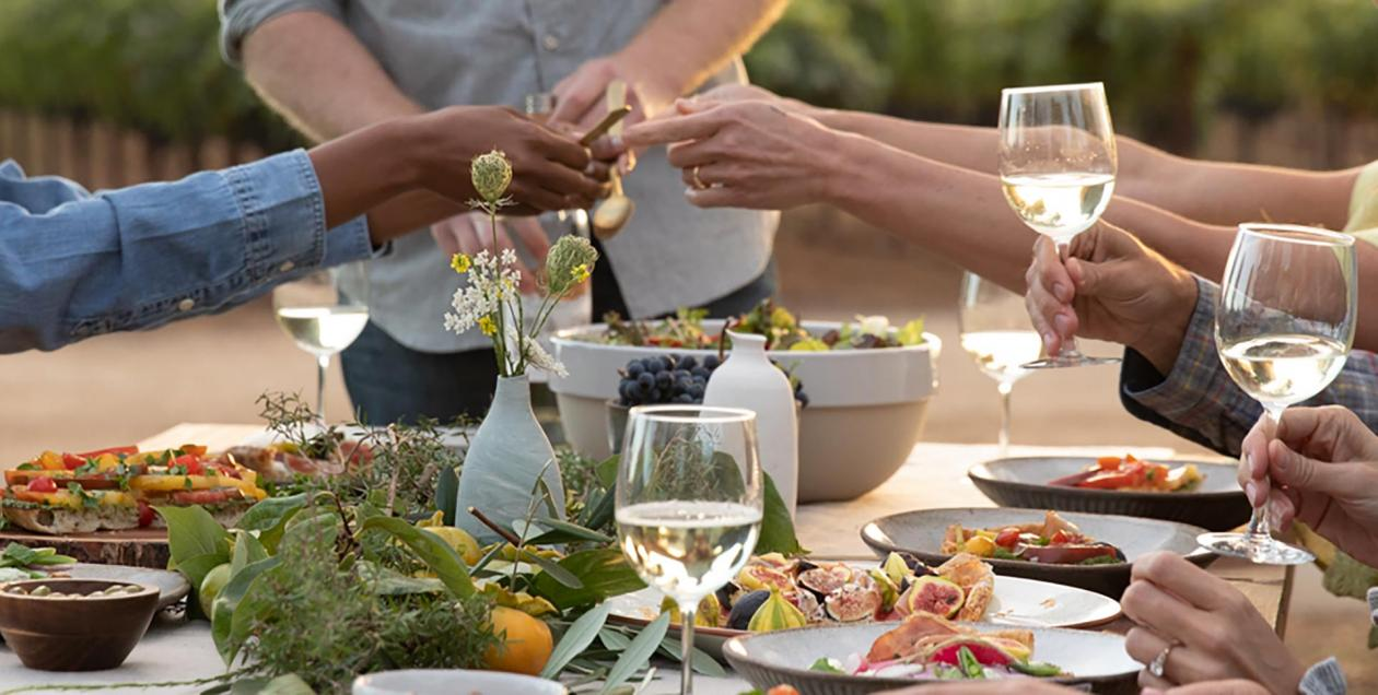 A group of people shares a harvest feast in the vineyards in Sonoma County