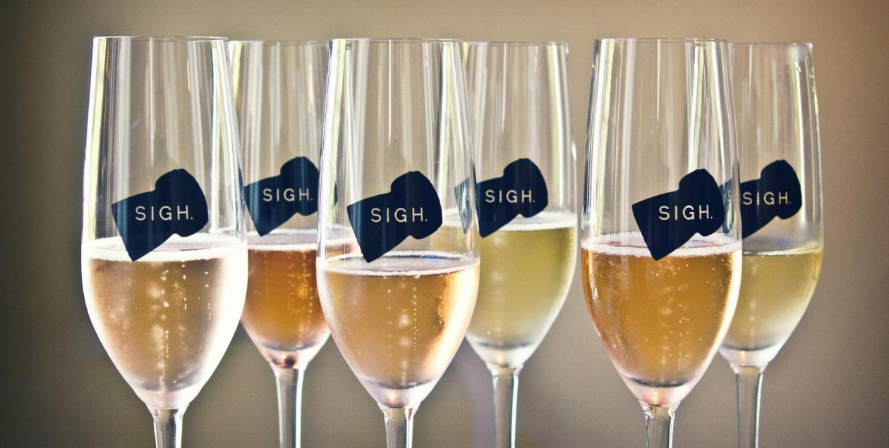 Champagne glasses from Sigh in Sonoma County