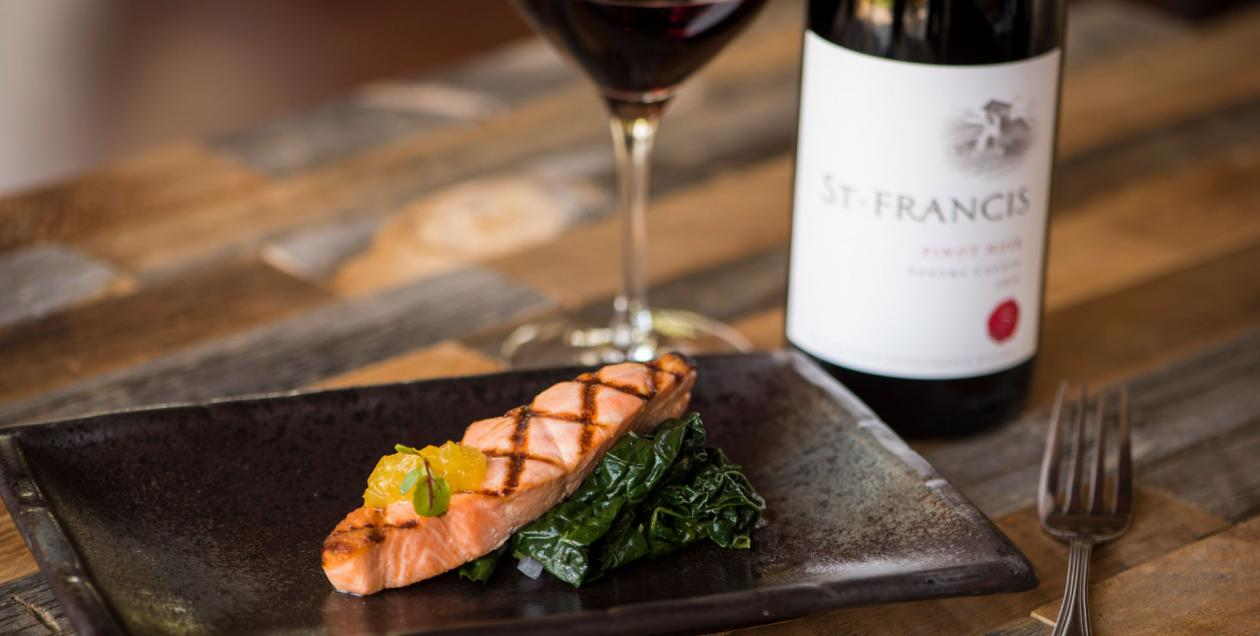 salmon and wine dish at St Francis winery in Sonoma County