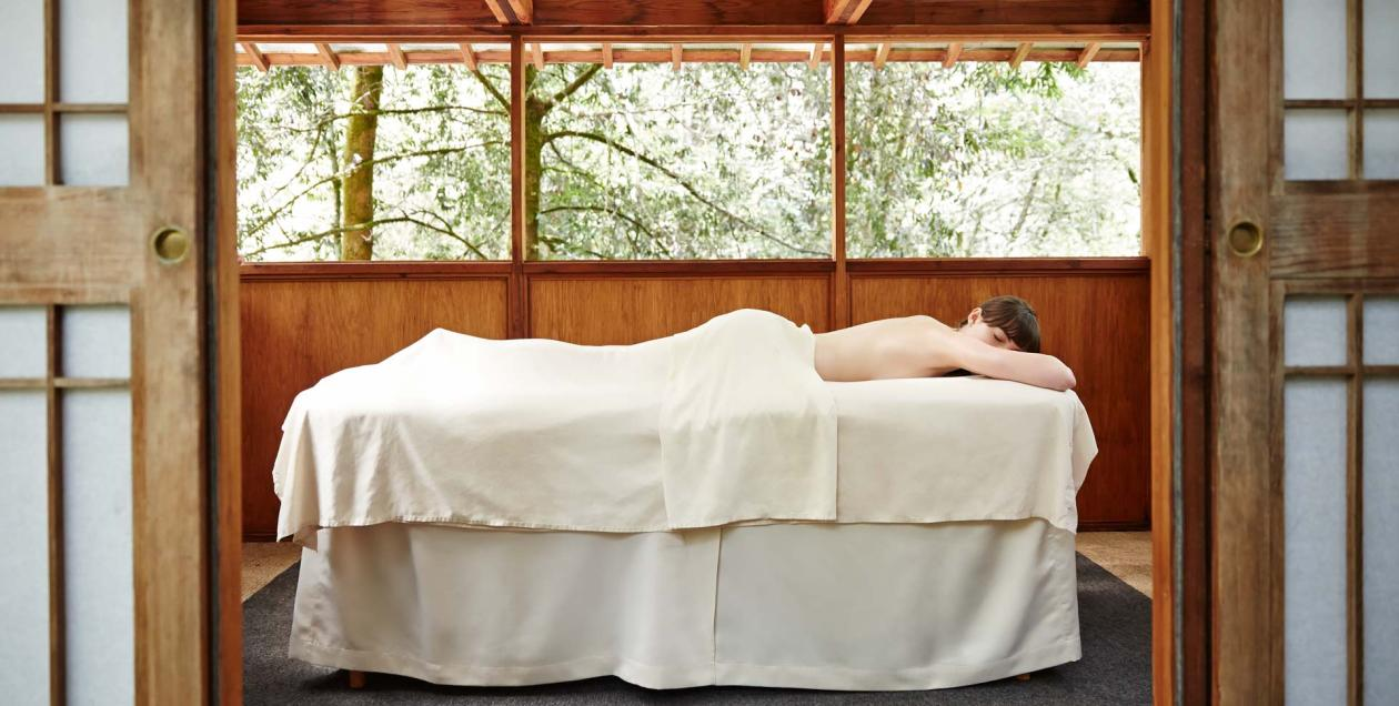 woman on massage table at Osmosis Spa in Sonoma County