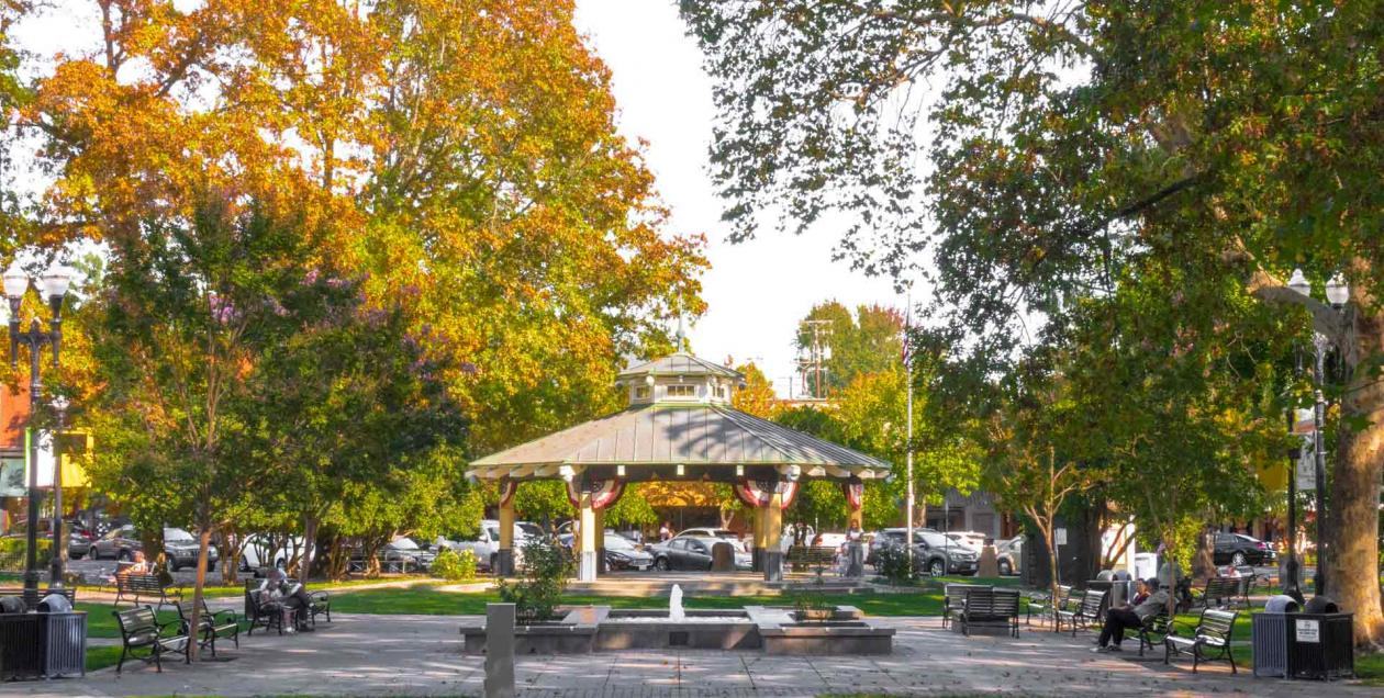 The gazebo is the center piece of the healdsburg plaza in the fall in Sonoma County