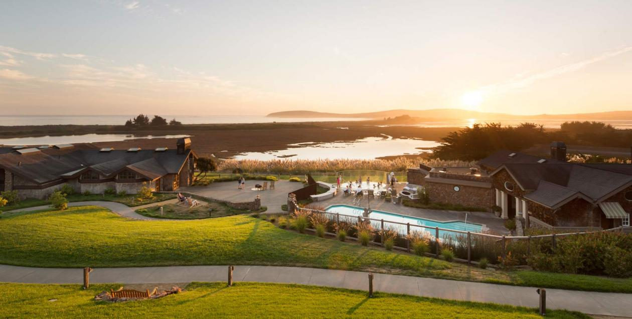 The pool at the Bodega Bay Lodge overlooks the Pacific Ocean at sunset in Sonoma County
