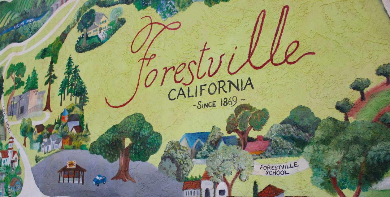 A colorful mural on a wall in Forestville depicts the town and its buildings in Sonoma County