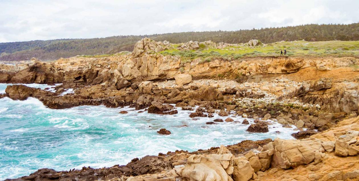 A cove along the coast is surrounded by rugged rocks