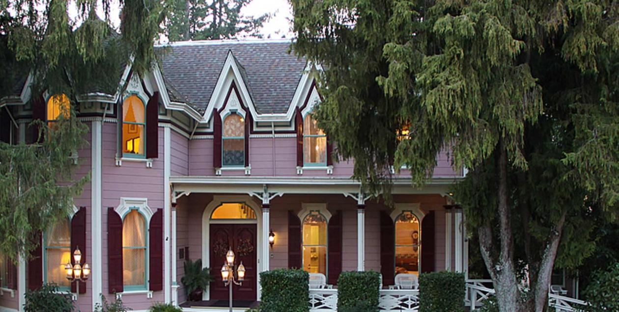The pink exterior of the Victorian B&B