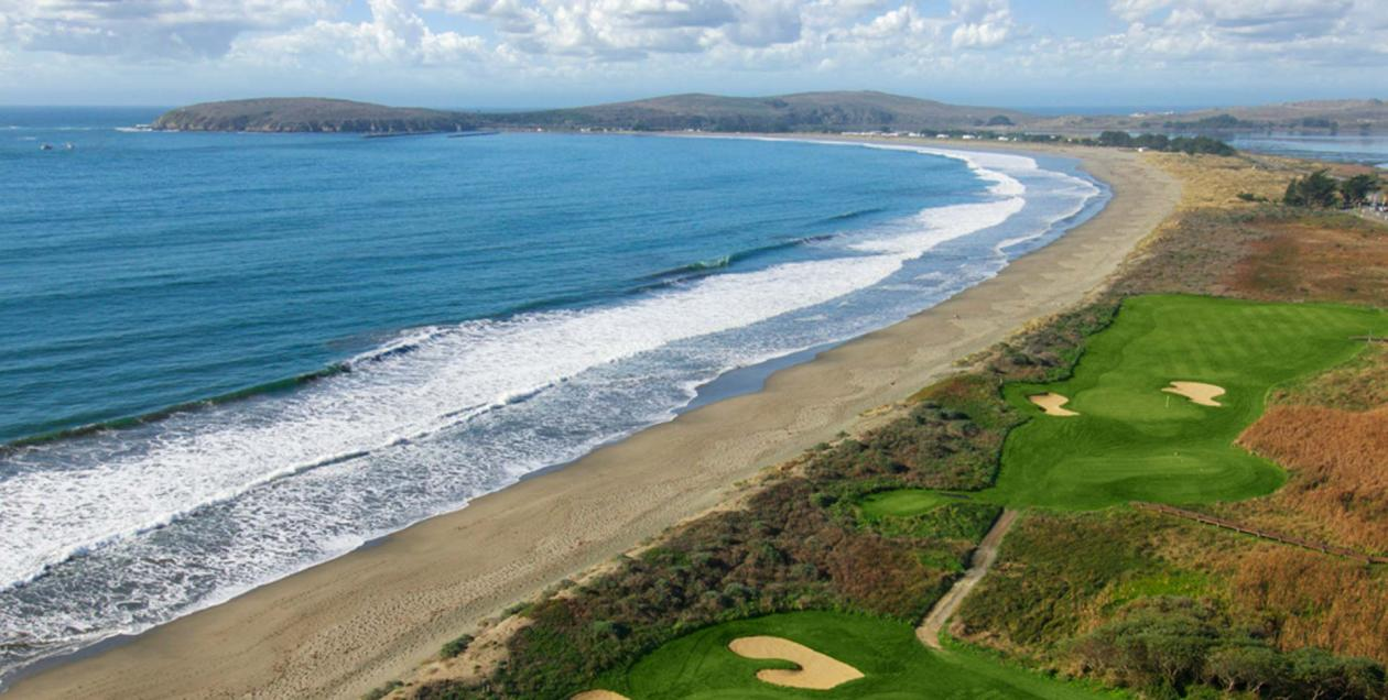 A green golf course along the Pacific Coast