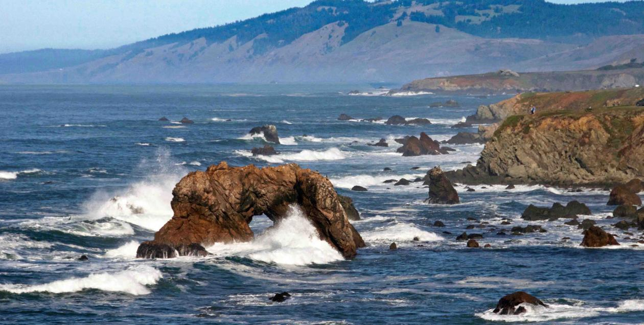 The arched rock off the Sonoma Coast at Marshall Gulch Beach and Arched Rock Beach, Bodega Bay
