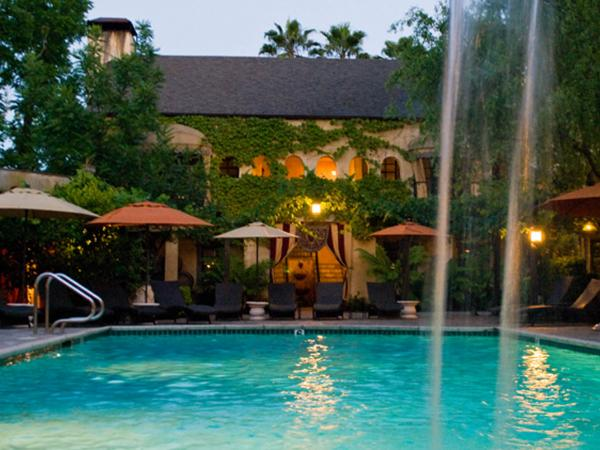 A water fall spills into the luxurious pool at the Kenwood Inn and Spa, Sonoma County