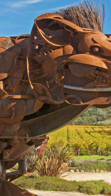 boar sculpture at Soda Rock Winery