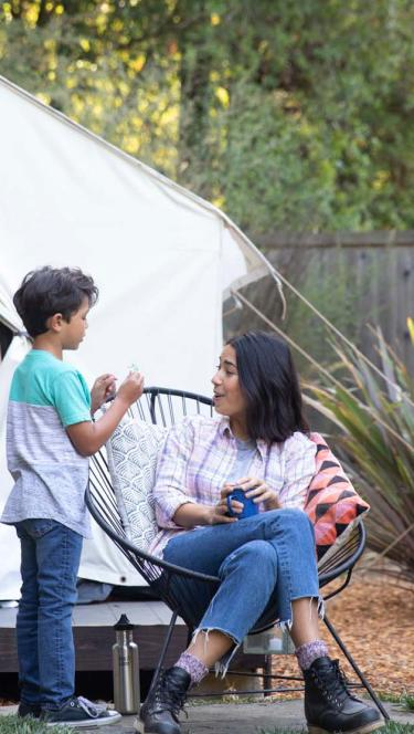 family is tent camping in Sonoma County